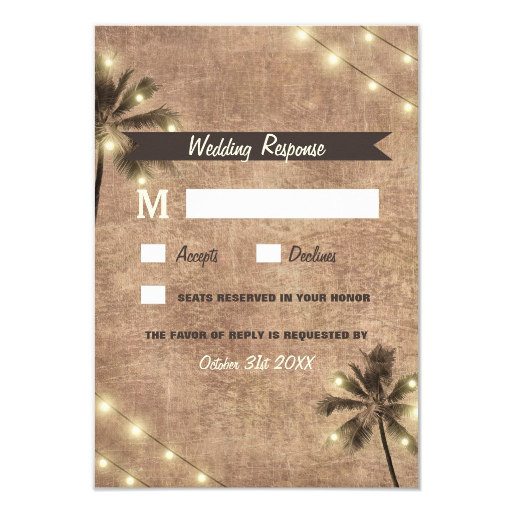 Palm Tree Vintage Lights Beach Wedding RSVP Cards