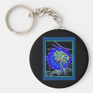 Palm tree w/ blue background keychain
