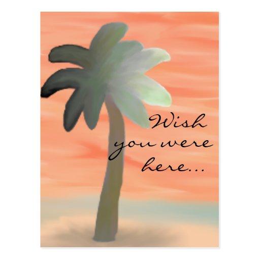 Palm Tree Watercolor Postcard