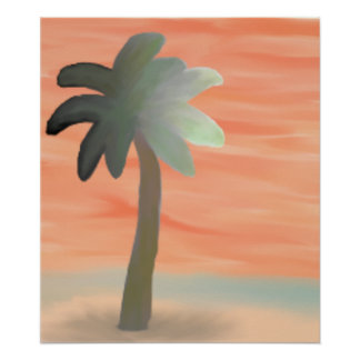 Palm Tree Watercolor Poster