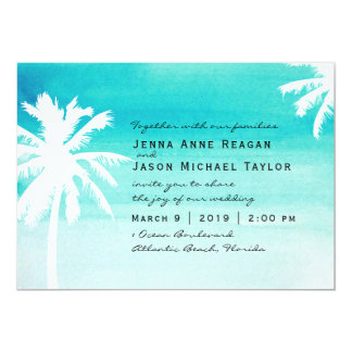 Palm Tree Watercolor Wedding Invitation
