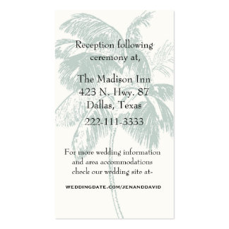 Palm Tree Wedding Enclosure Card Double-Sided Standard Business Cards (Pack Of 100)