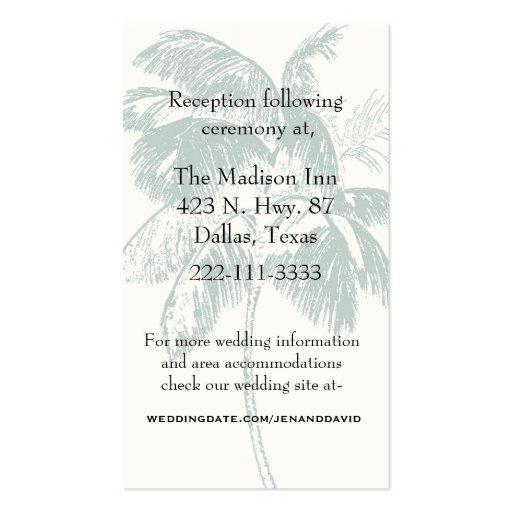 Palm Tree Wedding Enclosure Card Business Card Templates