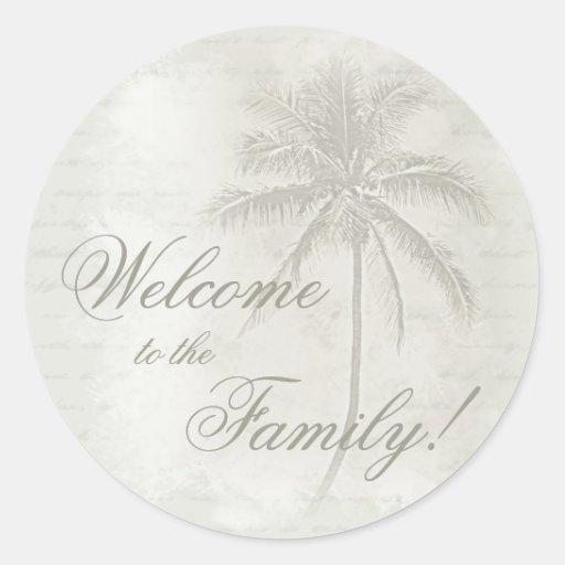 Palm Tree Welcome (sand) Classic Round Sticker