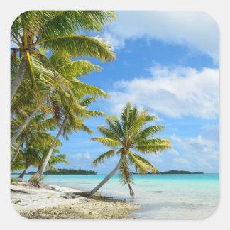 Palm tree white sand beach photo sticker