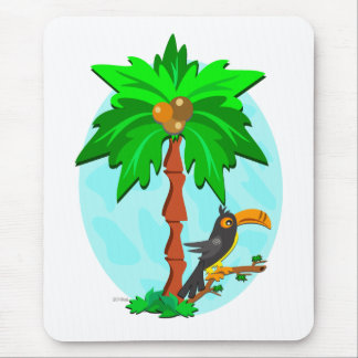 Palm Tree with Attentive Toucan Mouse Pad