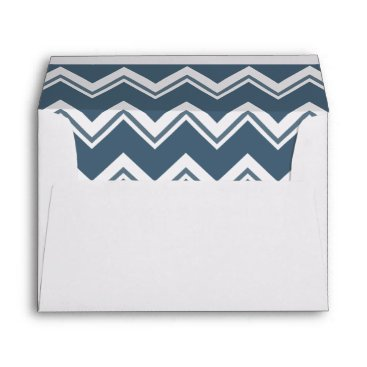 Palm Tree with blue chevron liner wedding Envelope