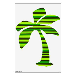 Palm tree with lime striped room sticker