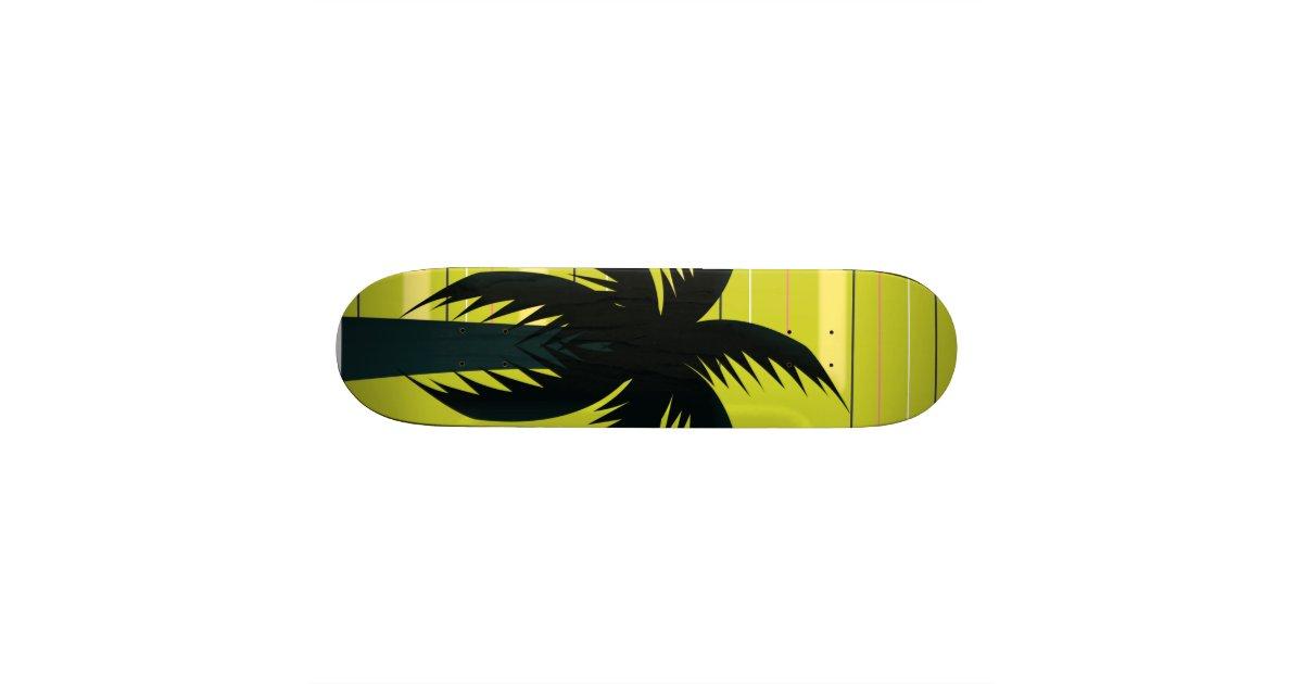 Palm tree with stripes skateboard   Zazzle