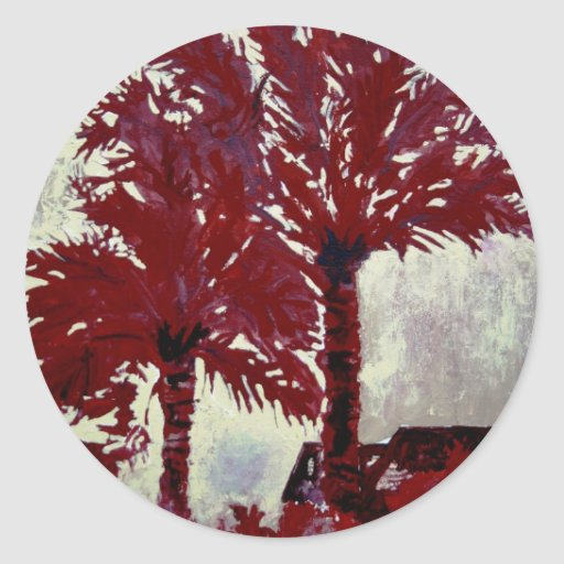 palm trees acrylic modern tropical wall art classic round sticker