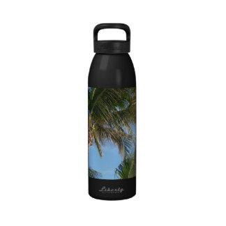 Palm Trees Against Blue Sky Drinking Bottle