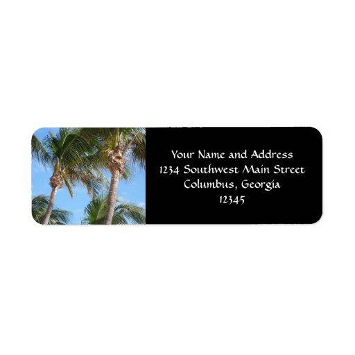 Palm Trees Against Blue Sky Custom Return Address Label