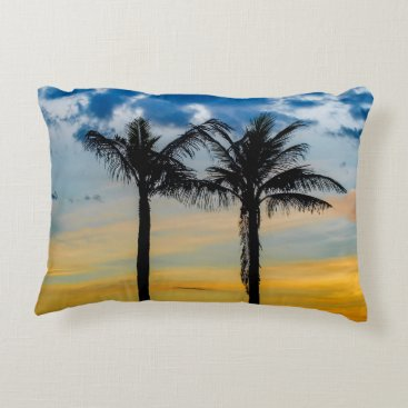 Beach Themed Palm Trees against Sunset Sky Decorative Pillow