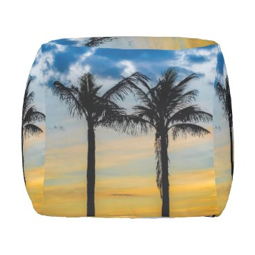 Beach Themed Palm Trees against Sunset Sky Outdoor Pouf