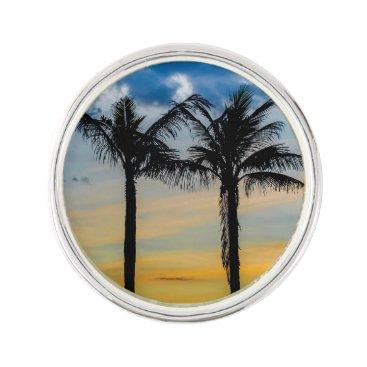 Beach Themed Palm Trees against Sunset Sky Pin