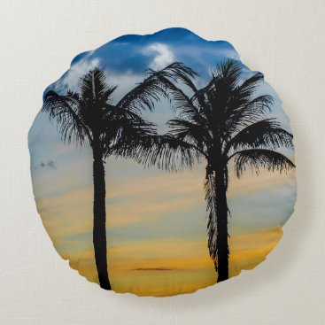 Beach Themed Palm Trees against Sunset Sky Round Pillow