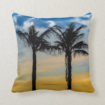 Beach Themed Palm Trees against Sunset Sky Throw Pillow