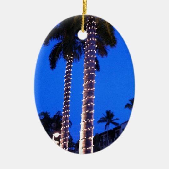 Palm Trees Alight Ceramic Ornament