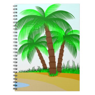 Beach Themed Palm Trees and Beach Spiral Notebook