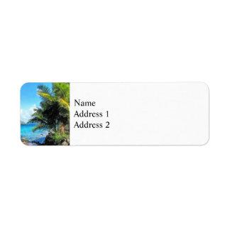 Palm Trees and Beach St. Thomas VI Return Address Label