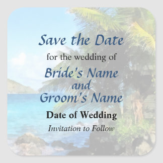Palm Trees and Beach St. Thomas VI Save the Date Square Sticker