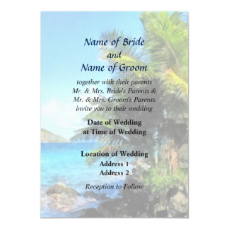 Palm Trees and Beach St Thomas VI Wedding Products 5x7 Paper Invitation Card