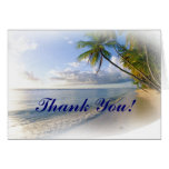Palm Trees and Beach wedding Thank You notecards Card