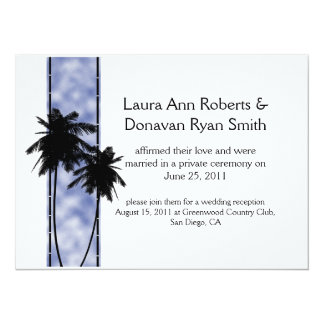 Palm Trees and Blue Post Wedding Invitation