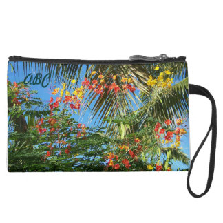 Palm Trees and Caribbean Flowers! Suede Wristlet