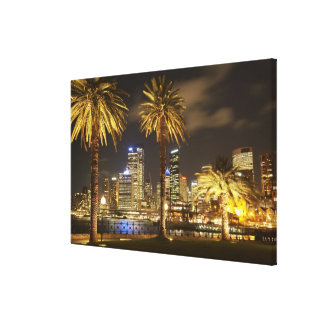 Palm Trees and CBD at Night, Sydney, New South Canvas Print