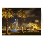 Palm Trees and CBD at Night, Sydney, New South Greeting Card