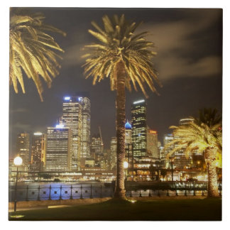 Palm Trees and CBD at Night, Sydney, New South Ceramic Tile