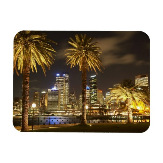 Palm Trees and CBD at Night, Sydney, New South Magnet