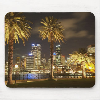 Palm Trees and CBD at Night, Sydney, New South Mouse Pad