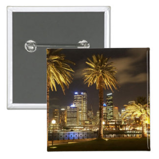 Palm Trees and CBD at Night, Sydney, New South Pinback Button