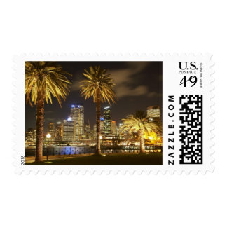 Palm Trees and CBD at Night, Sydney, New South Postage