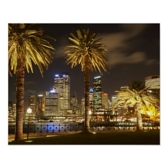 Palm Trees and CBD at Night, Sydney, New South Poster