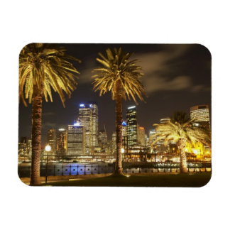 Palm Trees and CBD at Night, Sydney, New South Rectangular Photo Magnet