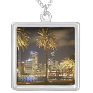 Palm Trees and CBD at Night, Sydney, New South Square Pendant Necklace