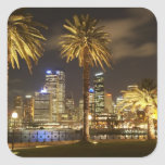 Palm Trees and CBD at Night, Sydney, New South Stickers