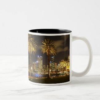 Palm Trees and CBD at Night, Sydney, New South Two-Tone Coffee Mug