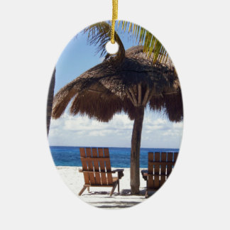 Palm Trees and chairs Mexico Beach Ceramic Ornament