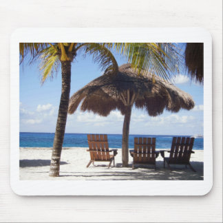 Palm Trees and chairs Mexico Beach Mouse Pad
