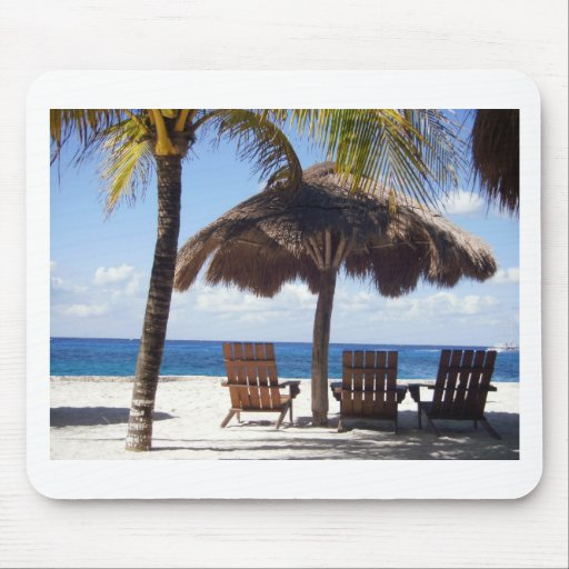 Palm Trees and chairs Mexico Beach Mousepads