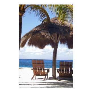 Palm Trees and chairs Mexico Beach Custom Stationery