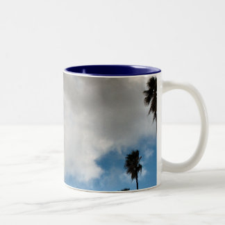 palm trees and clouds Two-Tone coffee mug