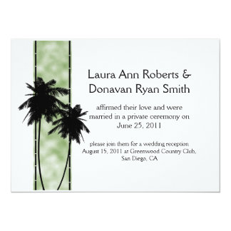 Palm Trees and Green Post Wedding Invitation