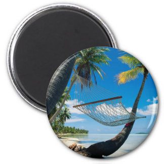 Palm Trees and Hammock 2 Inch Round Magnet