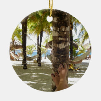 Palm Trees and Hammock Ceramic Ornament