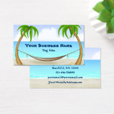 Palm Trees And Hammock Tropical Beach Business Card at Zazzle